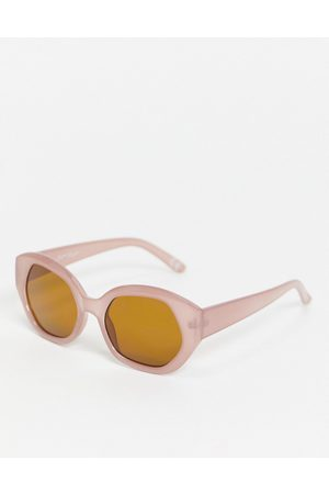 Jeepers Peepers Womens oversized round sunglasses in pink