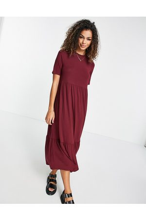 ASOS Tiered smock t-shirt midi dress in oxblood
