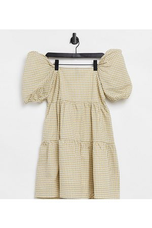 Y.A.S Y.A.S. Petite gingham puff-sleeved mini smock dress in sage-Green
