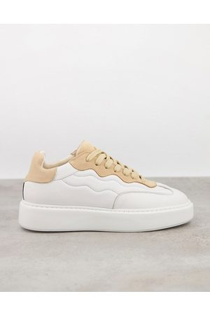 SELECTED Femme chunky sneakers in white and pink