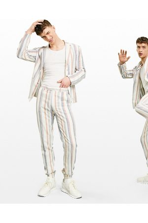 ASOS Soft tailored linen slim suit pants multi stripe in white and blue