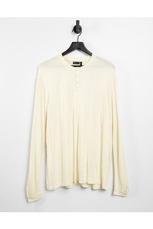 ASOS DESIGN Relaxed fit long sleeve viscose grandad t-shirt in beige-Neutral