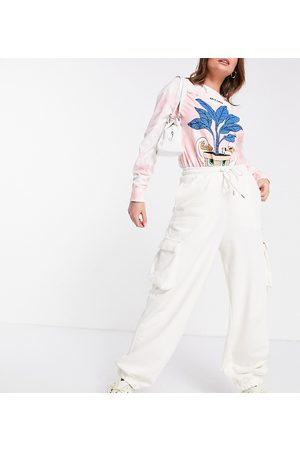 COLLUSION Unisex utility trackies in ecru-White