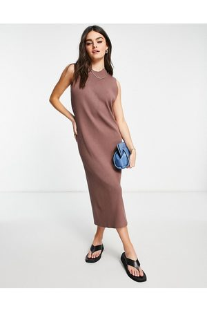 ASOS Sleeveless midi rib dress in brown