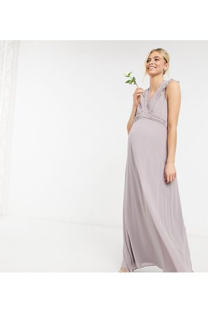 TFNC Maternity Bridesmaid lace trim plunge front maxi dress in grey