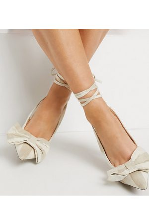 ASOS DESIGN Wide Fit Peony tie leg bow high heeled shoes in natural-Neutral