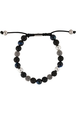Nialaya Men Bracelets - Textured beaded bracelet