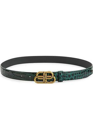 Balenciaga Belts - BB Shiny Croc-Embossed Leather Belt