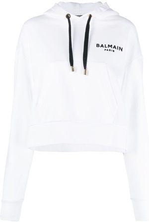 Balmain Cropped flocked logo hoodie