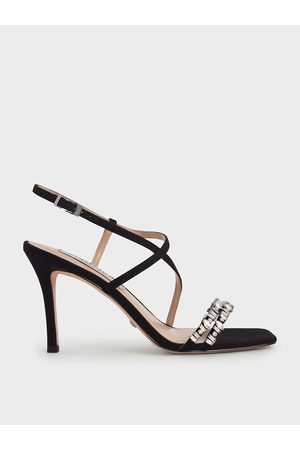 CHARLES & KEITH Canvas Gem-Embellished Sandals
