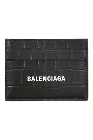 Balenciaga Logo Crocodile-Embossed Leather Card Case