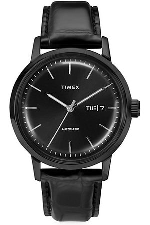 Timex Men Watches - Marlin® Automatic Day-Date Leather Strap Watch