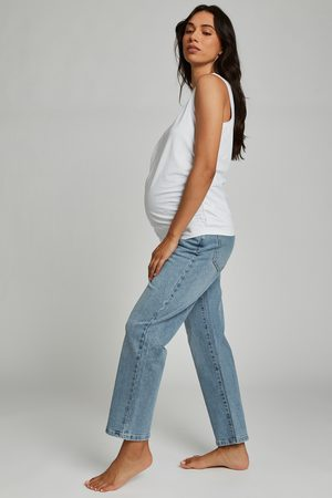 Cotton On Women Maternity Straight Stretch Jean (Over Belly) - Aireys blue