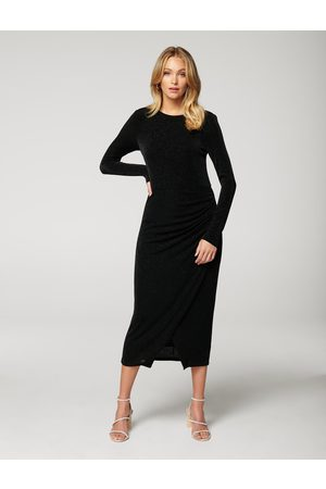 Forever New Marissa Glitter Jersey Ruched Midi Dress