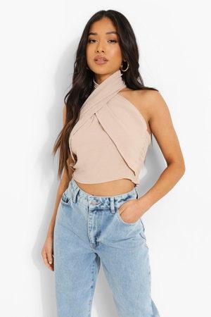 Boohoo Women Halterneck Tops - Petite Linen Look Cross Front Halter Top- Stone