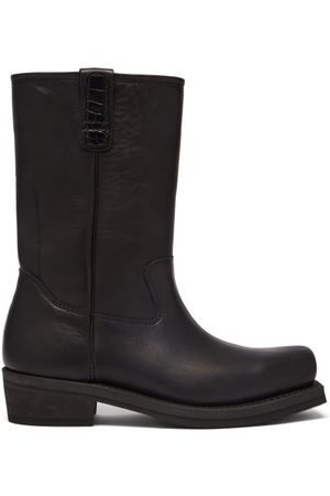 OUR LEGACY Flat Toe Leather Boots - Mens