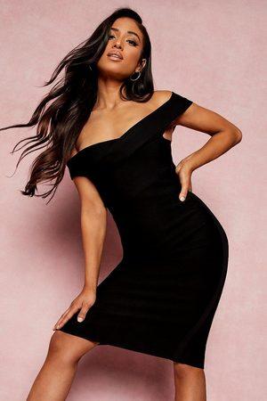 Boohoo Women Midi Dresses - Petite Bandage Wrap Bardot Midi Dress