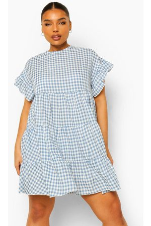 Boohoo Plus Gingham Print Tiered Smock Dress