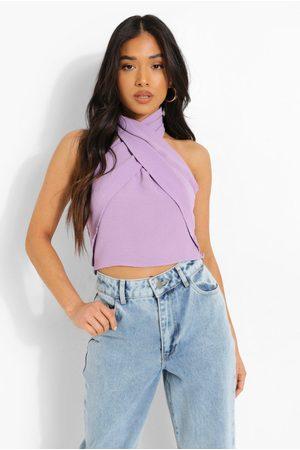 boohoo Women Halterneck Tops - Petite Linen Look Cross Front Halter Top- Lilac