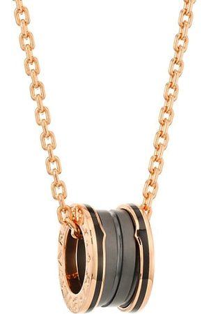 Bvlgari B.zero1 18K Rose Gold & Black Ceramic Pendant Necklace