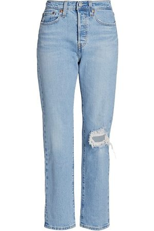 Levi's Wedgie High-Rise Distressed Straight Ankle Jeans