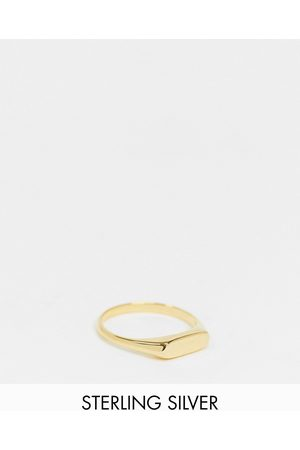 ASOS Sterling silver signet ring with slim design with 14k gold plate