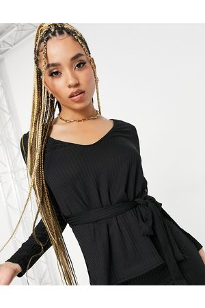 Club L Ribbed plunge neck top in black co-ord