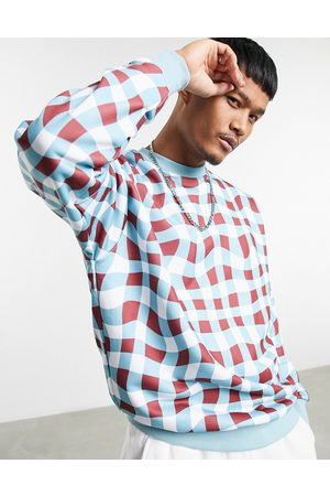 ASOS Oversized sweatshirt with all over check print-Multi
