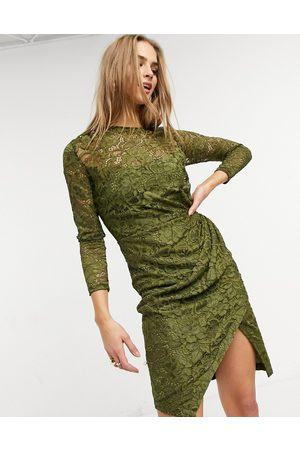 Little Mistress Lace wrap front midi dress in olive-Green