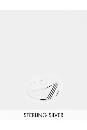 ASOS Sterling silver signet ring with contrast design in silver