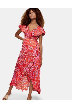 Topshop Printed wrap detail midi dress in red