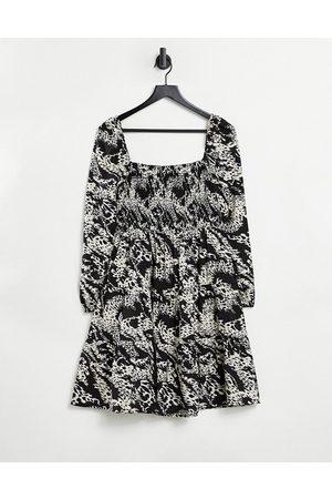 Object Mini smock dress in animal print-Multi
