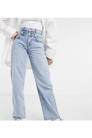Reclaimed Vintage Inspired 90s dad jeans with double waistband in blue