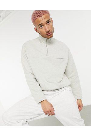 ASOS Heavyweight sweatshirt with half zip in oatmeal marl-Neutral