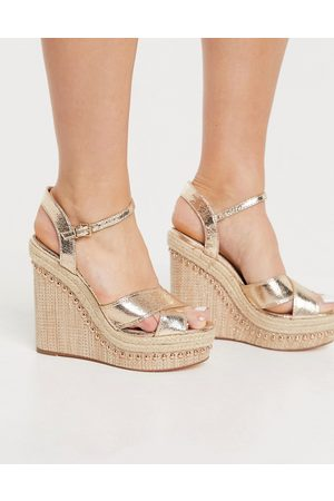 River Island Strappy heeled wedge sandals in gold