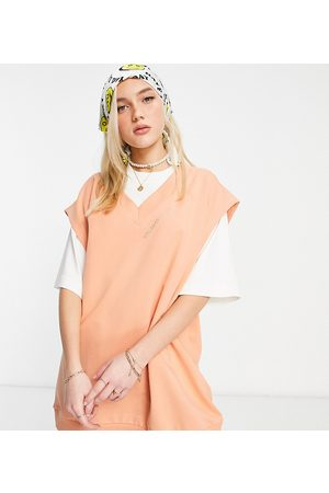 Reclaimed Vintage Inspired unisex organic sweater vest in peach co-ord-Yellow