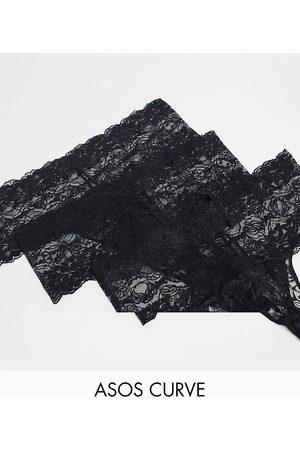 ASOS ASOS DESIGN Curve 3-pack deep lace lingerie thong in black
