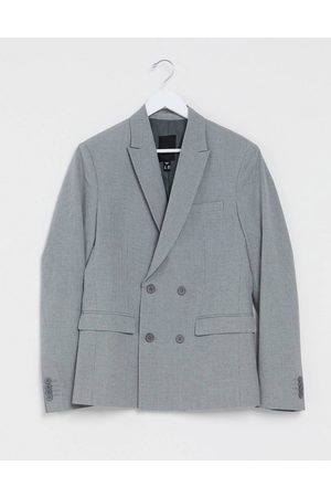 New Look Slim double-breasted blazer in grey