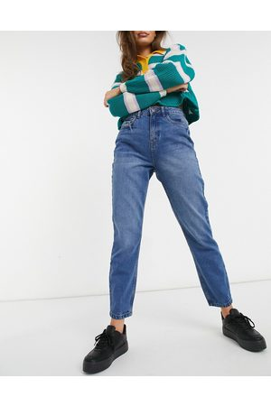 Noisy May Isabel rigid ankle mom jeans in blue
