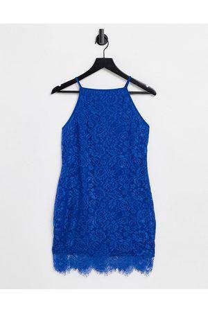 Ax Paris Peplum hem lace dress in cobalt-Blue