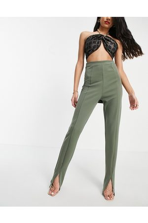 Flounce London High waist tailored stretch pants with split front in khaki-Green