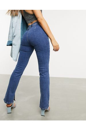 ASOS High-rise 'Y2K' stretch flare jeans in midwash-Blue