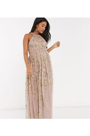 ASOS ASOS DESIGN Maternity halterneck pretty embroidered floral and sequin mesh maxi dress-Multi