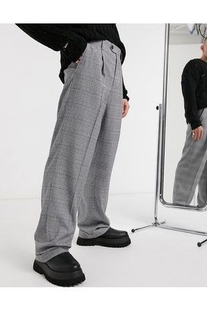 ASOS Wide leg smart pant in check with turn up-Grey