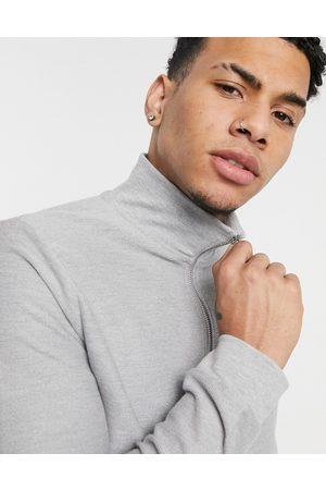 Topman 1/4 zip twill sweatshirt in grey