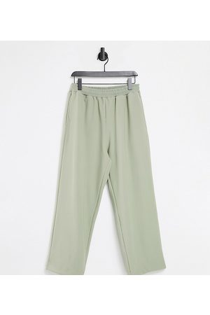 COLLUSION Unisex 90s dad wide leg trackies in rib fabric in stone co-ord-Neutral