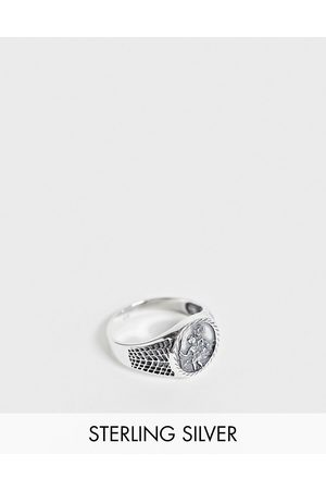 ASOS Sterling silver signet ring with St Christopher design in burnished silver