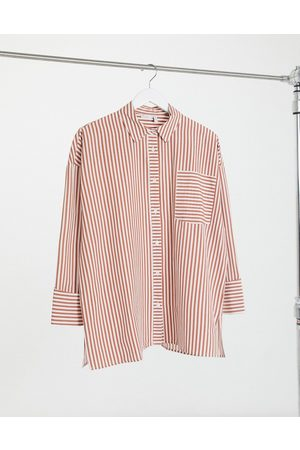 ASOS Super oversized relaxed cotton dad shirt in red and cream stripe-Multi