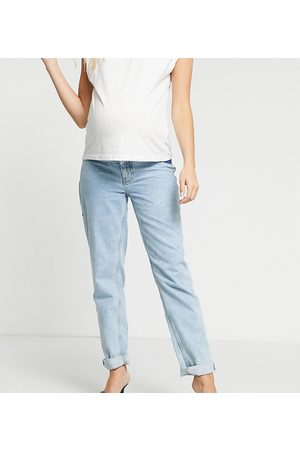 ASOS ASOS DESIGN Maternity high rise 'original' mom jeans in lightwash with elasticated side waistband-Blue