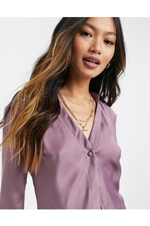 ASOS Slim fit satin shirt in lilac-No Colour